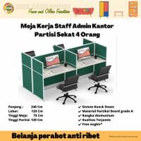 Meja Kerja Staff Kantor Workstation Partisi Cubicle 4 Orang PW WS