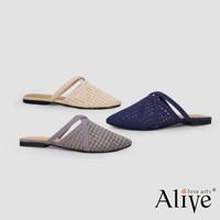 Alivelovearts Tsubaki Sandal Lace Flat Mules Brukat Wanita