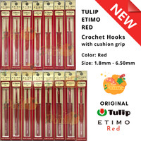 Jarum Rajut Hakpen Tulip ETIMO RED Crochet Hooks with Cushion Grip
