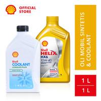 Oli Mesin Mobil Shell Helix HX6 10W-40 (1L) + Shell Coolant (1L)