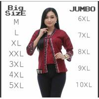 Atasan Batik Big Size Wanita / Blus Panjang Jumbo / M-L-XL-XXL-3L-4L-5 - MEGAMENDUNG MER, M