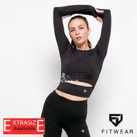 Pakaian Olahraga Wanita(Fitness,Zumba,Yoga) croptop hollow thumb [Blk]