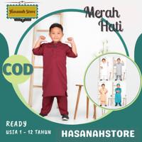 Baju Gamis Anak Laki Terbaru Koko Muslim Ngaji Sholat Bahan Katun - Merah, 1-2 th