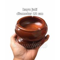 asbak kayu jati asli diameter 12cm