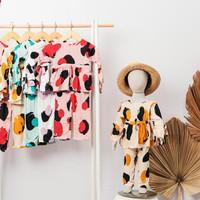 baju anak perempuan setelan rayon motif premium - pink, 6 bulan - 1 thn