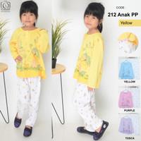 Baju tidur anak 7th murah untuk perempuan lengan panjang size L - Kuning