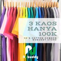 Promo 3pcs 100rb Kaos Polos Cotton combed 30s soft / asli katun
