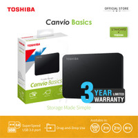 Toshiba Canvio Basic Hardisk Eksternal 2TB USB3.0 - Hitam + Pouch