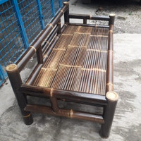 Kursi Bambu santai bale sofa panjang hitam Free ongkir Bayar ditempat