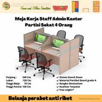 Meja Kerja Staff Kantor Workstation Partisi Sekat Cubicle 4 Orang SR 3