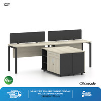 Meja Kerja Kantor T Shape Sejajar 2 Orang + Meja Samping Sorong