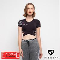 Pakaian Olahraga Wanita (Fitness,Zumba,Yoga) croptop Roundcross [Blk]
