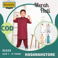 Baju Koko Anak Cowok Laki Laki / Setelan Koko Muslim Anak - Merah, 1-2 tahun