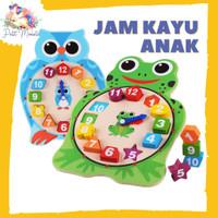 Mainan Jam Kayu Anak - Motif Animal - Belajar Waktu dan Berhitung
