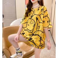 T SHIRT Panjang Pokemon Yellow Pikachu Semi Dress Jumbo Oversized