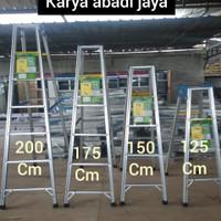 tangga lipat aluminium 125cm multifungsi kuat dan kokoh terlaris