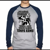 Kaos Lengan Panjang Pria/Wanita Pejuang Lembur - Navy, M