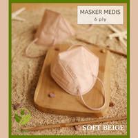 Masker Pokana KN95 / Masker Medis 6 Ply Isi 2 - Warna Soft Beige