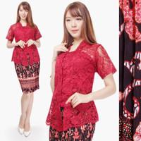 Promo atasan brokat kutubaru collection - Merah Muda, M