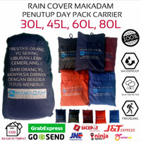 rain cover penutup tas daypack carrier 30l 45l 60l 80l makadam