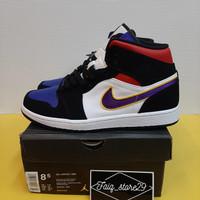 Sepatu Nike Air Jordan 1 Mid Lakers Top 3 Purple White Red PK ORIGINAL