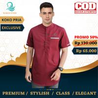 baju koko pria lengan pendek | baju koko muslim| baju koko merah maron