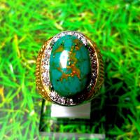 Cincin Batu Akik Pirus Serat Emas Corak Unik