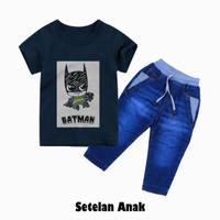 Setelan pakaian anak laki-laki, kaos batman#3 dan celana panjang giva - 1, Merah