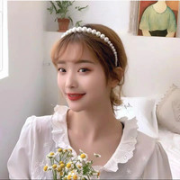 Bando Aksen Mutiara Gaya Korea Bandana Mutiara Simple Elegan