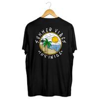 Infinide T-Shirt SUMMER VIBES Cotton Combed Premium Brand Official - Hitam, XXXL
