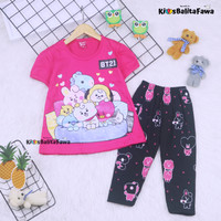 Setelan Plufy Kids uk 2-3 Tahun / Baju Anak Perempuan Set Kaos Legging