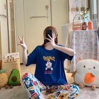 Piyama Import CP Setelan Baju Tidur Wanita Remaja Dewasa motif kartun - Biru