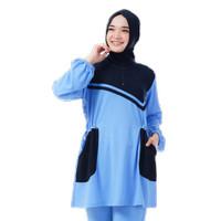 Kaos Olahraga Muslimah Lengan Panjang Bahan Baby Terry Rocella Briana - Biru Muda, S