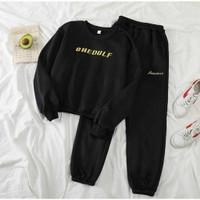 Setelan Chedulf wanita baju olahraga training set sweater premium unik