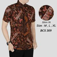 Batik, Kemeja slimfit pria,Baju batik cowok Lengan pendek OB 445