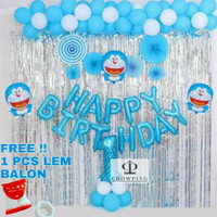 Murah Paket Dekorasi Balon Ulang Tahun / Happy Birthday Tema Doraemon