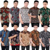 Hem Batik Pria Lengan Pendek   Baju Batik Ruzza   Kemeja Kerja Dewasa