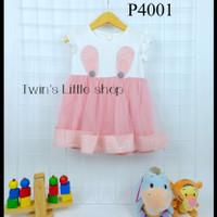 Baju Anak Perempuan Setelan Dress Impor Usia 6 bulan - 2 tahun P4001 - Merah Muda, 100 / L