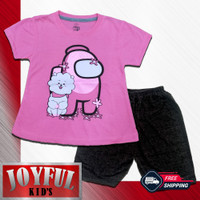 Setelan Pendek Baju / Kaos Anak Perempuan AMON US 1 - 10 Tahun