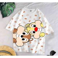 T-Shirt BUN WH XL / BAJU KAOS WANITA XL KOREA OVERSIZE KATUN COMBED