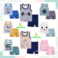 (0-24m)Setelan Baju Bayi Setelan Kaos Anak Oblong Tanpa Lengan