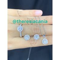 Set berlian eropa cincin, anting dan liontin model esperanza asli ori