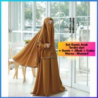 baju anak perempuan 7-9thn set gamis+jilbab+cadar maxi mustard