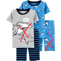 Setelan baju tidur anak laki laki CARTER'S shark celana stripe