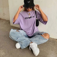 Kaos Baju Over it aesthetic tumblr tee 90s oversize unisex murah