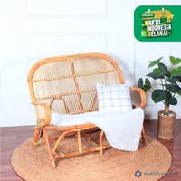 Kursi sofa rotan alami 2 dudukan | kursi bangku teras | rattan sofa