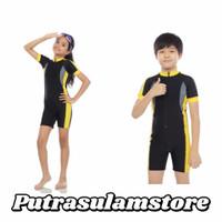 Baju Renang Diving Tanggung cewek/cowok Lengan Pendek ZigZag