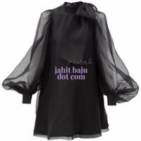 Zara Cute Bow Premium Organza Black Dress Baju Designer Party Dress