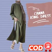 Baju Canna Tunik Lengan Panjang Polos Fashion Casual Perempuan Murah - Army