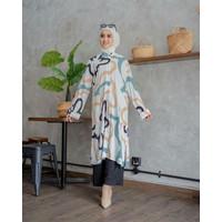 Baju Tunik Atasan Wanita Dewasa Katun Rayon Motif Circle Fit To XL